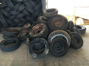 Pile of old tires to be hauled off